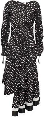 3.1 Phillip Lim Asymmetric Ruched Printed Silk-satin Twill Dress