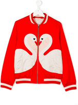 Stella McCartney Teen swan patch bomber jacket - kids - Cotton/Polyester - 14 yrs