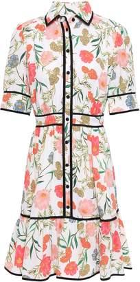 Kate Spade Floral-print Crepe Mini Shirt Dress