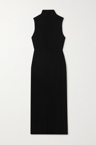 Leset Lori Ribbed Stretch-knit Midi Dress - Black