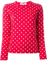 Comme des Garcons embroidered heart polka dot T-shirt - women - Cotton - XS