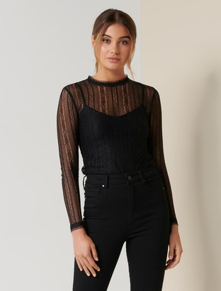 Forever New Sadie Lace Skivvy - Black - m