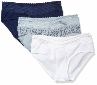 Warner's Women's No Pinching No Problems 3 Pack Cotton Hipster with Lace Panties