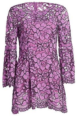 Lela Rose Corded Lace Flounce Sleeve Top