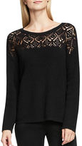 Vince Camuto Pointelle Long Sleeve Lace Yoke Crewneck Sweater