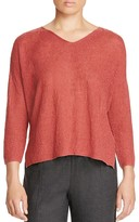 Eileen Fisher V-Neck Textured Organic Cotton Sweater