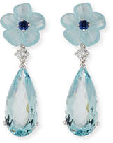 Rina Limor Fine Jewelry Aquamarine Flower Earrings with Diamonds