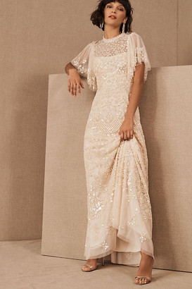 Anthropologie Needle & Thread Honesty Flower Gown By in Pink Size 10
