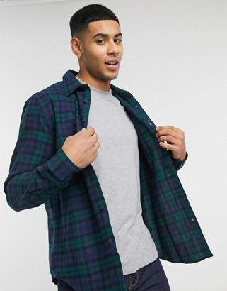 New Look blackwatch check shirt in navy and green