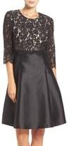 Eliza J Petite Women's Mixed Media Popover Fit & Flare Dress