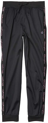 Champion Kids Track Pants w/ Champion Script Taping (Big Kids) (Black) Girl's Clothing
