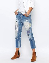 Replay Gracelly Boyfriend Jeans With Paisley Patches