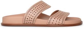 Alaia Laser-cut leather slides