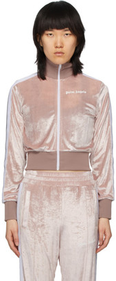 Palm Angels Pink Chenille Cropped Zip-Up Sweatshirt