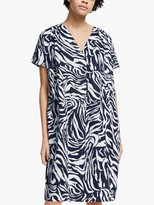 John Lewis & Partners Marble Print Tuck Dress, Navy