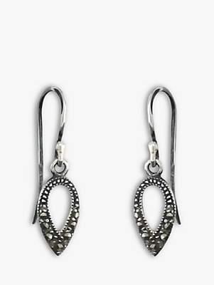 Nina B Sterling Silver Marcasite Teardrop Drop Earrings, Silver