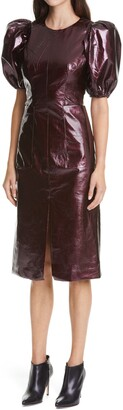 Rotate by Birger Christensen Katarina Puff Sleeve Faux Patent Leather Midi Dress