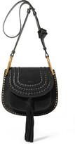 Chloé Hudson Small Whipstitched Suede Shoulder Bag - Black