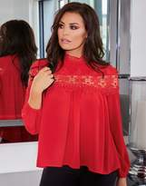 Jessica Wright Lace Trim Placement Long Sleeve Top
