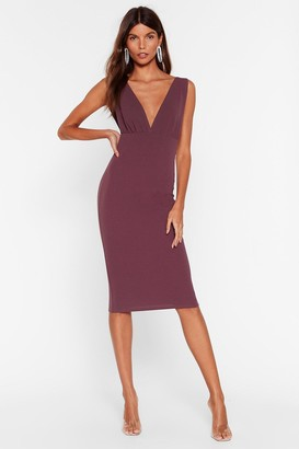 Nasty Gal Womens In Deep Plunging Midi Dress - Purple - 4