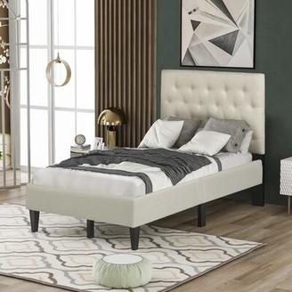 Latitude Run Chigusa Twin Tufted Low Profile Platform Bed Color: Beige