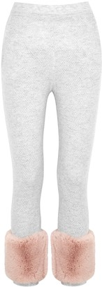 Izaak Azanei Grey faux fur-trimmed wool and cashmere-blend sweatpants