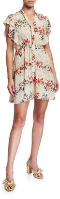 RED Valentino Floral-Print Short Tie-Neck Flutter-Sleeve Dress