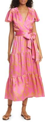 Tanya Taylor Liza Floral Silk Wrap Midi Dress