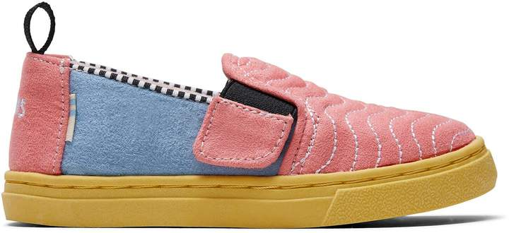 Toms Ballet Pink Wavy Quilted Microsuede Tiny Luca Slip-Ons