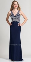 Dave and Johnny Swirl Bead Illusion Back Evening Dress