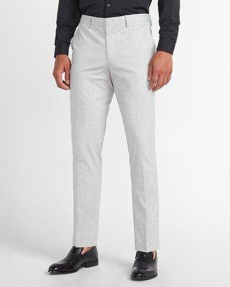 Express Extra Slim Gray Textured Cotton Blend Suit Pant
