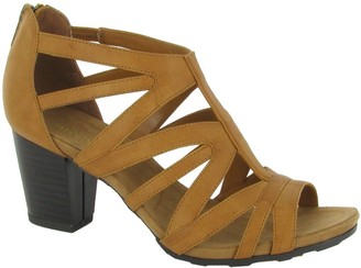 Easy Street Shoes Block Heel Sandals with Back Zip -Amaze
