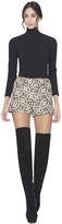 Alice + Olivia Black/Cream/Gold Marisa Back Zip Shorts