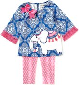 Rare Editions Little Girls 2T-6X Elephant-Applique Bow Tunic & Patterned Leggings Set
