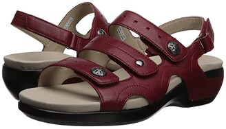 Aravon PC Three Strap (Rio Red Leather) Women's Sandals