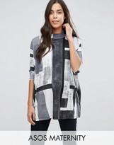 Asos Oversized Top with High Neck in Block Print
