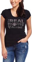 Black 'Real Moms of Baseball' Embellished V-Neck Tee