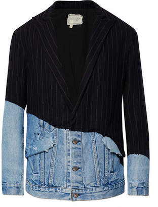 Greg Lauren Distressed Denim-Panelled Pinstriped Wool-Blend Blazer