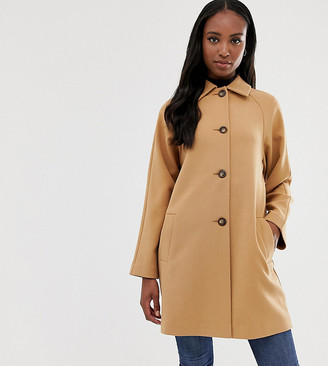Asos Tall DESIGN Tall crepe coat with buttons-Stone