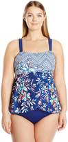 Maxine Of Hollywood Women's Tropical Trip Draped One Piece Swimsuit