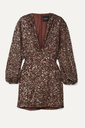 retrofete Aubrielle Sequined Chiffon Mini Dress - Brown