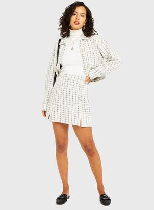 Miss Selfridge Ivory Jersey Boucle Skirt