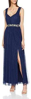 Little Mistress Women's Navy Embellished Waist Maxi Dress Cocktail Plain V-Neck Sleeveless Party Dress,(Manufacturer Size:)