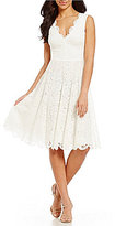 Vera Wang Scalloped Lace Fit-and-Flare Dress