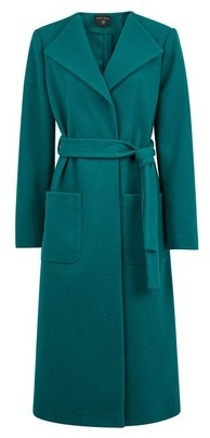Dorothy Perkins Womens Teal Collarless Wrap Coat