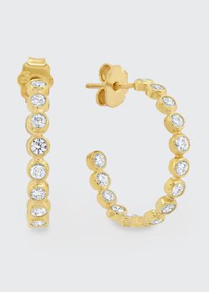 Jennifer Meyer 18k Diamond Small Bezel Hoop Earrings