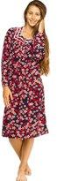 Patricia from Paris Women's Soft Fleece Long Sleeve Nightgown Pajama Sleepwear (Navy Floral, XL)