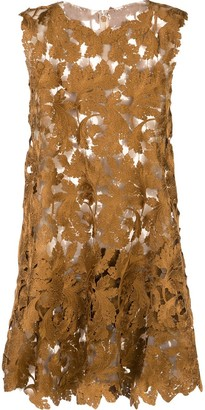 Oscar de la Renta Leaf Embroidered Dress