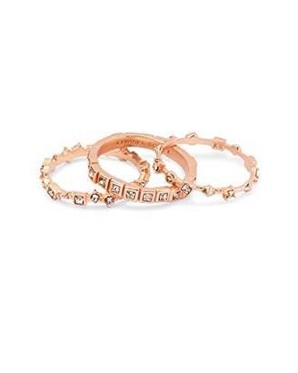 Kendra Scott Karis Rose Gold Stackable Ring Set in Blush Mix - 5