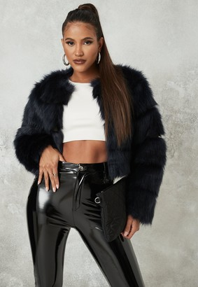 Missguided Tall Navy Faux Fur Pelted Cropped Jacket